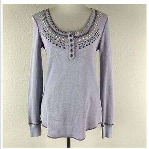 Free People embroidered thermal lilac EUC large